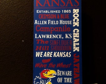 The University of Kansas Handpainted Typography Sign