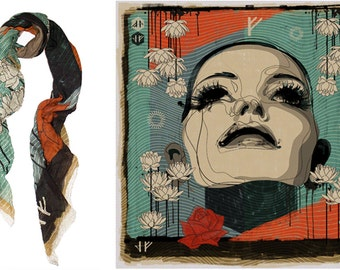 Printed square scarf  in Cotton/ Silk, 129 cm x 129 cm, 50 inch, designed and made in the Netherlands, in luxury giftbox. Limited edition.