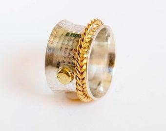 Spinner ring , design spinner ring ,  band ring , modern ring , 1 band spinner ring , women ring , sterling silver