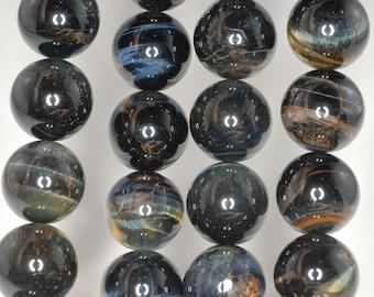 16mm Blue Tiger Eye Gemstone Hawk Eye Grade AB Round 16mm Loose Beads 7.5 inch Half Strand BULK LOT 1,2 and 6 (90186269-75)