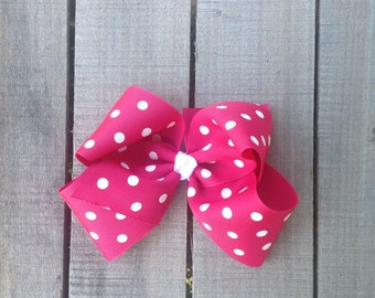 Dark pink and white polka dot boutique hair bow