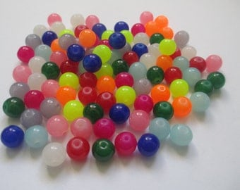 100 beads 8mm glass imitation jade mix of colours
