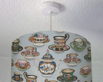 Drum Lampshade with Vintage Tea Cups and Teapots