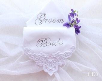 Embroidered Bride & Groom Wedding Handkerchief Set with Crystals