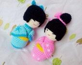 Amigurumi kokeshi,Japanese doll,ningyo,mini crochet doll,kawaii crochet geisha,kimono,asian,keychain,bag charm,hina matsuri