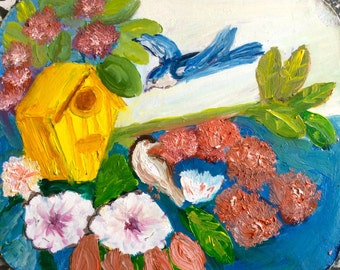 """Coming Home, 4.5"""" x 5.5"""", Original Fine Art Oil Painting"""