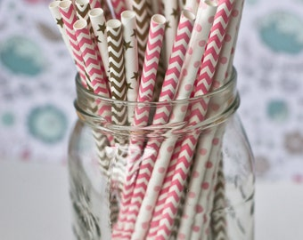 Pink and Gold Paper Straws with FREE DIY tags - Drinking Straws - Straws - Party Supplies- Pink and Gold Party- Cake Pop Straws- Wedding
