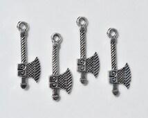 10 Axe charms | battle axe charms | silver axe charms | weapon charms | medieval weapon charms | goth charm | medieval charms | SC519