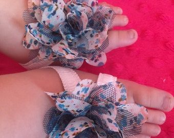 Shabby chic flower and lace infant barefoot sandals
