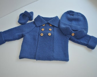 Hand knitted baby boy pram set with cashmere in blue age 0 - 6 mths