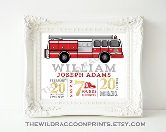 Personalized Fire Truck art, Firefighter, Baby Decor, Birth Announcement, Personalized Baby Art, Birth Stat Print, Fire Engine, Baby Gift