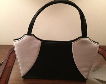 Retro Black and Off White Leather Bag