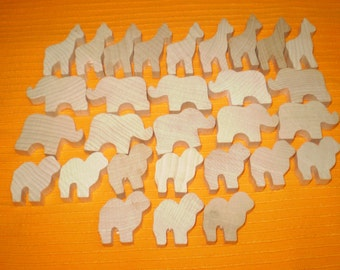 "29 Wood Wooden Animal Shapes Giraffes Elephants Camels Ap[pros. 1.75"" Unpainted Free Shipping in USA"