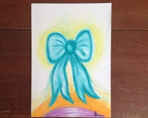 Angelic Ties - Oil Pastel Drawing. Framed and Ready to Hang. Free Shipping.