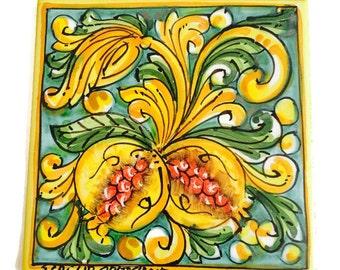 Italian ceramic pomegranite tile - pottery coaster - trivet - ceramic coaster