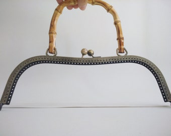 1 bronze metal purse frame with sewing holes 26,5 cm, supplies, purse frame for handbag with bamboo handle