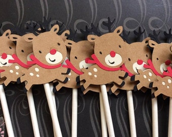 12 Adorable detailed Rudolph the Reindeer Cupcake toppers