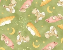 Snuggle Time Bunnies by the Bay Quilting Treasures Green Carrot  By the Yard