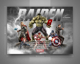 Avengers Birthday Invitation-Thank You Card-Poster-Avengers Assemble