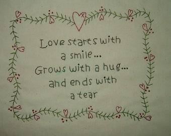 Primitive Stitchery~Love Starts With A Smile....