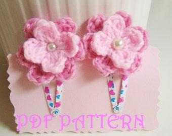 Crochet Flower Hair Clips PDF Pattern