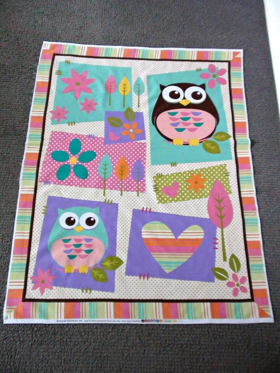 Baby Girl Fabric Novelty Fabric Owl Fabric Panel Wall