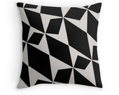 Black Pedals, Decorative Throw Pillow, Black and White Decor, Decorative Cushion, Decor Pillow, Triangles, Geometric Pillow