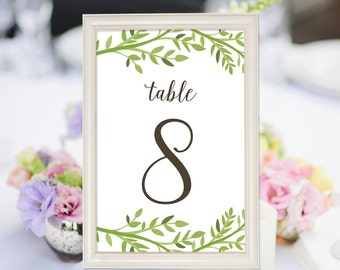 PRINTABLE Wedding Table Numbers 1-20, Leafy Table Numbers, 4x6 Table Numbers, Green Leaves Wedding Decor INSTANT DOWNLOAD