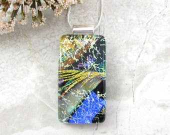 Colorful Dichroic Glass Pendant - Multi Layered Fused Dichroic Necklace - Fused Glass Jewelry