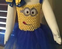 Minion birthday costume, minion birthday, dress up costume, tulle birthday costume, handmade costume, embroidery, minion