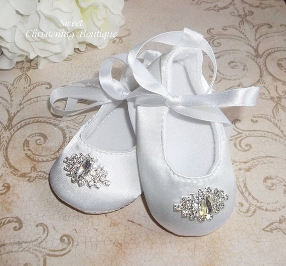 white satin baby christening shoes by christeningboutique