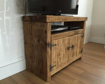 Reclaimed TV Unit Cabinet with hinged doors.