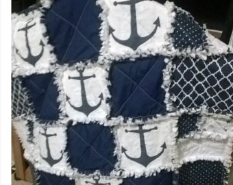 Nautical Anchor Crib Quilt Blanket