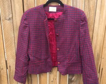 Pendleton wool blazer houndstooth pattern women's size medium/large