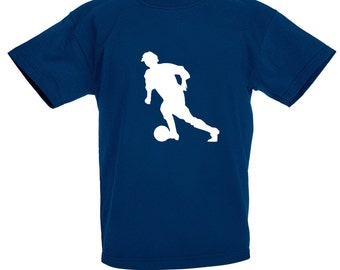Kids Football Player T-Shirt / Childrens Striker T Shirt in Navy Blue, Orange, Grey, Pink, Yellow / Ages: 3-4, 5-6, 7-8, 9-11, 12-13