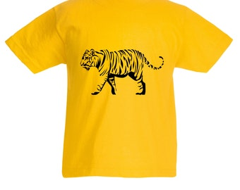 Kids Tiger T-Shirt / Childrens Big Cat Animal T Shirt in Pink, Grey, Light Blue, Yellow, Orange / Ages: 3-4, 5-6, 7-8, 9-11, 12-13