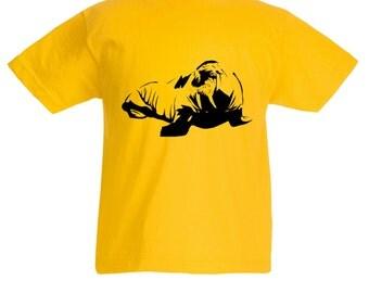 Girls Boys Yellow T-Shirt with Walrus / Kids Zoo Animal T-Shirt Childrens Tee Pink Grey Light Blue Orange Age: 3-4, 5-6, 7-8, 9-11, 12-13