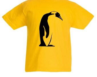 Kids Penguin T-Shirt / Childrens Yellow T Shirt for Boys / Girls in Pink, Grey, Light Blue, Orange / Age: 3-4, 5-6, 7-8, 9-11, 12-13