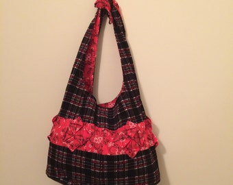 Black and Red Broadcloth Tote Bag