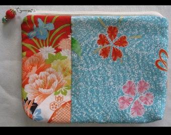 Blooming Bounty - Kimono Pouch Purse Bag Zipper Vintage Japanese Fabric