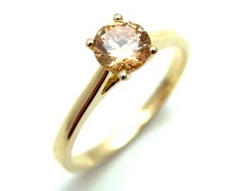 9ct Diamond-Unique Champagne 4 Claw Solitaire Ring (SS108)