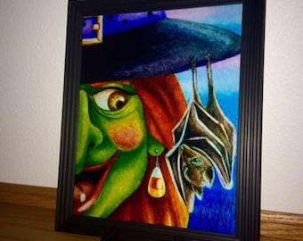 Framed 8x10 Witch, Bat, Candy Corn Photo, Halloween