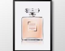 Coco Chanel perfume print, Coco Mademoiselle, Printable Coco Chanel art, Perfume print, Peach pink wall decor 234