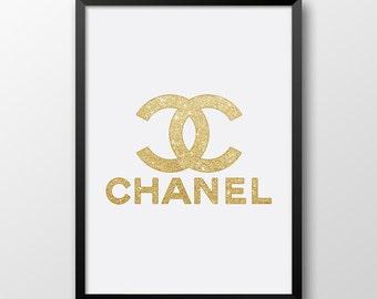Chanel logo print, Printable Chanel, Gold decor, Wall art, Gold chanel logo 245