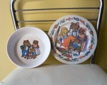 Melamine Melmac Goldilocks and the Three Bears Child's Plate and Bowl - Oneida Deluxe