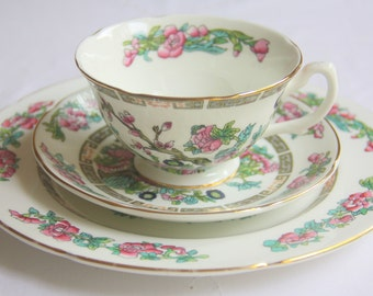 Vintage Royal Grafton Fine Bone China Tea Trio, Breakfast Set, Small Plate and Cup and Saucer, Indian Tree