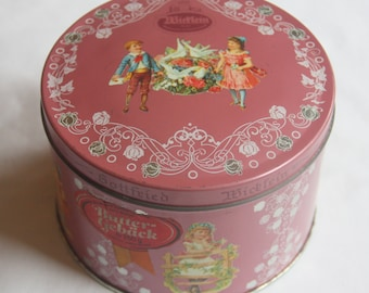 Neat Vintage Round Tin Cookie Can German Fabic