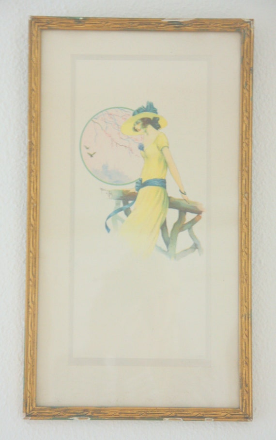 Vintage Original René Giffey Numbered Print Under Glass in Wooden Frame, French Artist