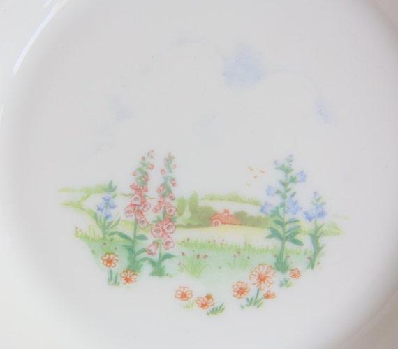 Set of Four Vintage Arcopal France Pyrex Deep Plates/Pasta Plates Landscape Pattern