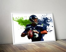 Russell Wilson Seattle Seahawks Poster, Russell Wilson print, Russell Wilson art, football poster, football prints, nfl, nfl poster